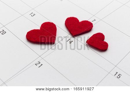 Calender with marked 14th valentine day with heart
