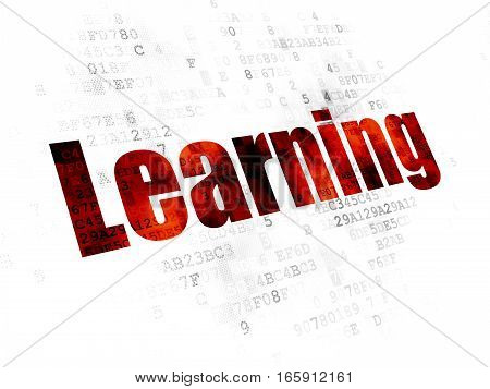 Learning concept: Pixelated red text Learning on Digital background