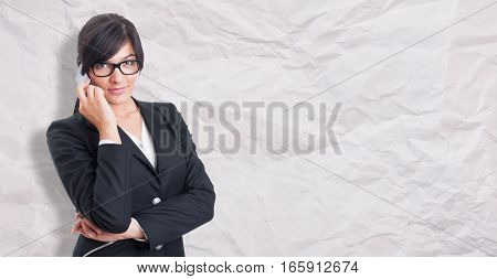 Beautiful Young Manager Talking On Cellphone