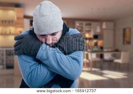 Sad Man With Medical Problem Shivering