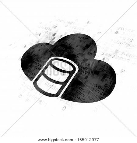 Programming concept: Pixelated black Database With Cloud icon on Digital background