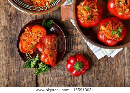 Sweet pepper stuffed with vegetables. Tomato shaped pepper ratunda ( gogoshar ). Top view.