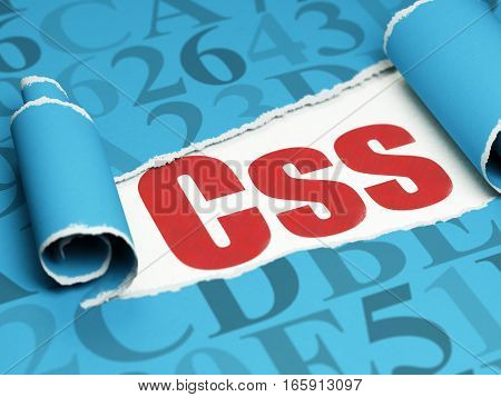 Software concept: red text Css under the curled piece of Blue torn paper with  Hexadecimal Code, 3D rendering