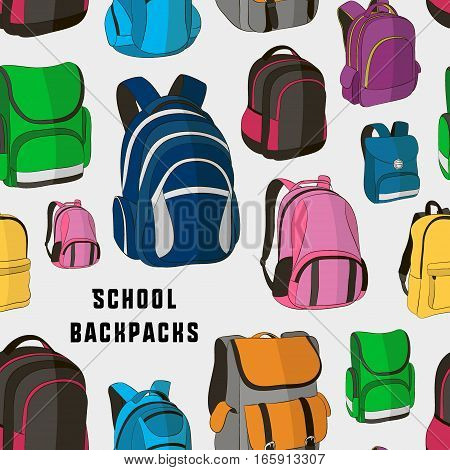 Colored school backpacks set pattern. Education and study back to school, schoolbag luggage, rucksack vector illustration