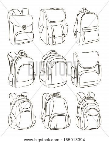 School backpacks set. Education and study back to school, schoolbag luggage, rucksack vector illustration