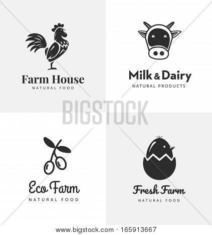 Fresh farm logos set. Vector labels for business with products from chicken meat, milk, dairy, eggs and olives