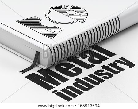 Industry concept: closed book with Black Factory Worker icon and text Metal Industry on floor, white background, 3D rendering