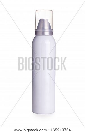 White aerosol can isolated on white background .