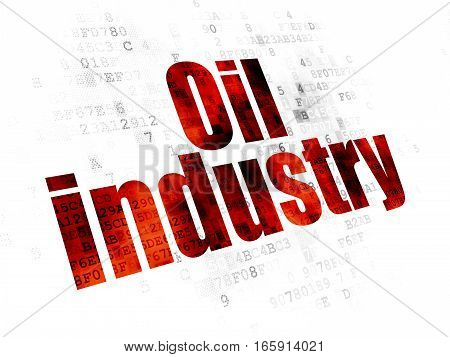 Manufacuring concept: Pixelated red text Oil Industry on Digital background