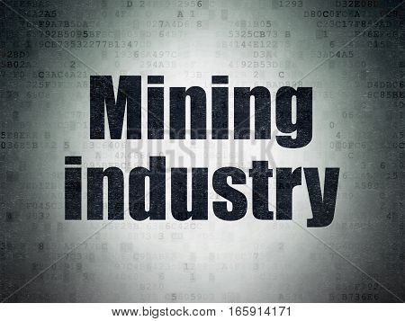 Manufacuring concept: Painted black word Mining Industry on Digital Data Paper background