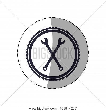 middle shadow sticker with circular frame with crossed wrenches vector illustration
