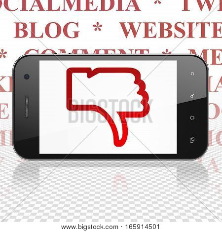 Social media concept: Smartphone with  red Thumb Down icon on display,  Tag Cloud background, 3D rendering
