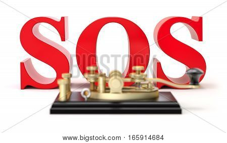 3d SOS text with morse code telegraphy device - 3D illustration