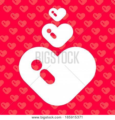 Big chubby white heart with and exclamation mark on the pink background and chubby heart pattern.