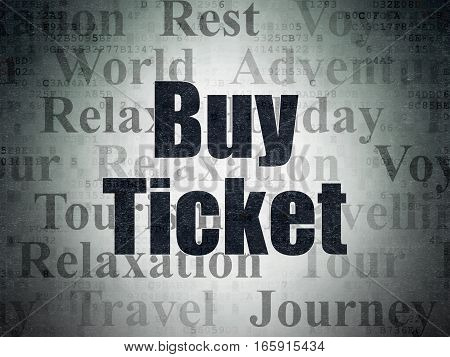 Tourism concept: Painted black text Buy Ticket on Digital Data Paper background with   Tag Cloud