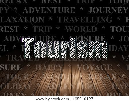 Tourism concept: Glowing text Tourism in grunge dark room with Wooden Floor, black background with  Tag Cloud