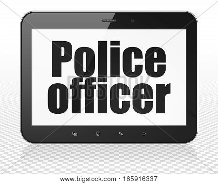 Law concept: Tablet Pc Computer with black text Police Officer on display, 3D rendering