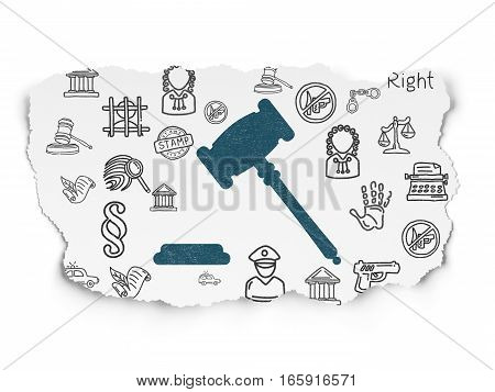 Law concept: Painted blue Gavel icon on Torn Paper background with  Hand Drawn Law Icons