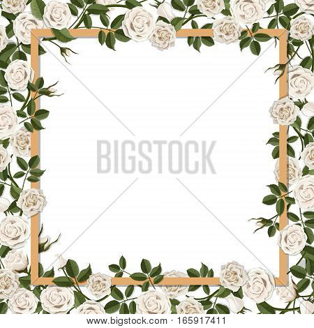 Square frame overgrown blossom rose flowers. Vector template for greeting card wedding or Valentine's day.