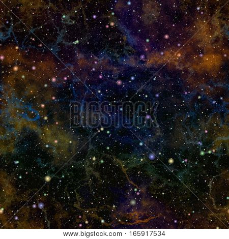 Abstract dark colorful universe.  Nebula night starry sky. Multicolor outer space.  Glittering galactic texture background. Seamless illustration.