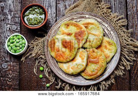 Spicy green peas Flatbread. Bengali Matar Kachori. Indian cuisine.
