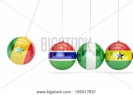 Senegal and Gambia Nigeria Ghana war conflict concept. 3D rendering isolated on white background