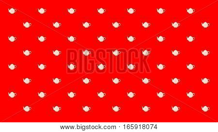Tea pots arranged in pattern on the red background.