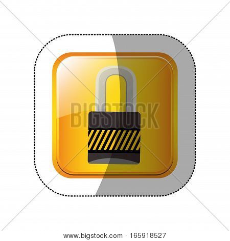 middle shadow sticker in yellow square padlock vector illustration