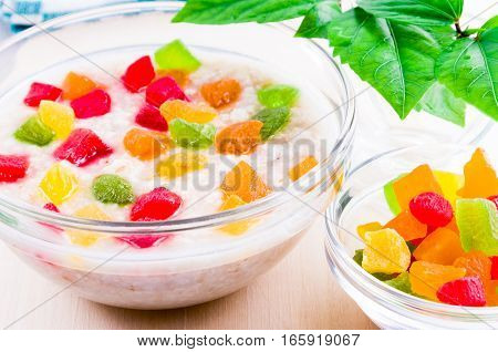 Healthy Oat Closeup With Candied Fruit