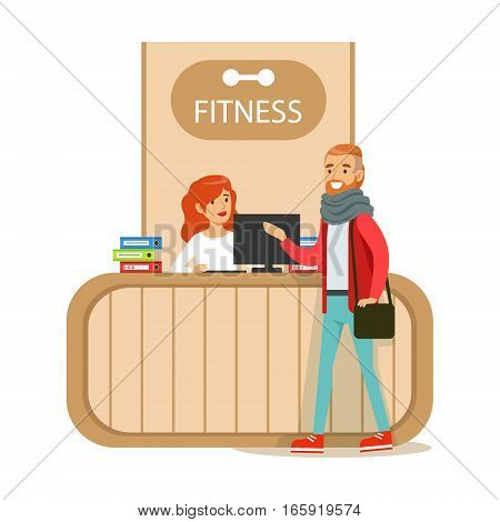 Fitness Club Reception Counter With Female Receptionist And Computer With Club Member Visiting. Healthy Lifestyle And Fitness Set Of Illustrations With Person Visiting Gym