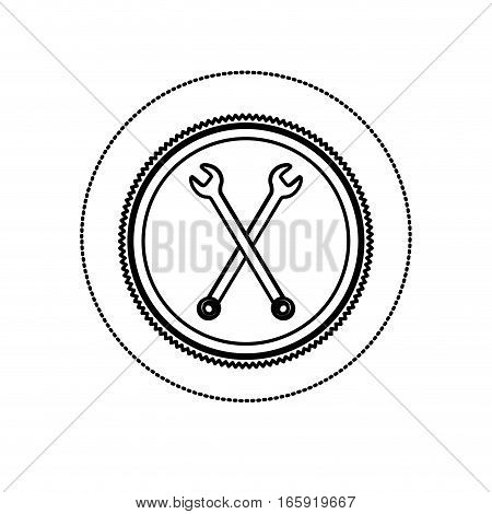 monochrome silhouette sticker with circular frame with crossed wrenches vector illustration