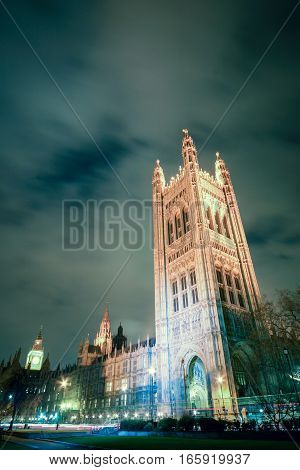 The Victoria Tower the highest point of the Palace of Westminster which houses the seat of UK government.