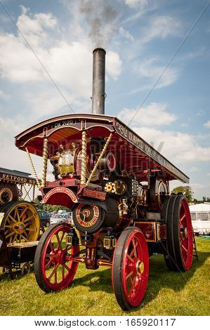 MANCHESTER UK - 9 JULY 2005: A carefully restored old English traction engine named 'The Princess of Wales' at a steam fair.
