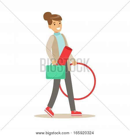 Fitness Club Trainer Walking To Work With Hula-hoop And Training Mat. Healthy Lifestyle And Fitness Set Of Illustrations With Person Visiting Gym