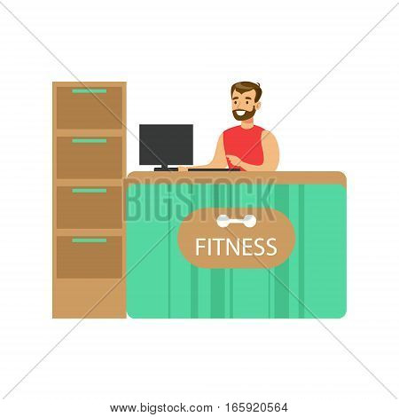 Fitness Club Reception Counter With Male Receptionist And Computer. Healthy Lifestyle And Fitness Set Of Illustrations With Person Visiting Gym