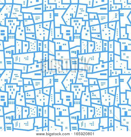 Light blue abstract urban seamless pattern. Landscape with city blocks. Vector background