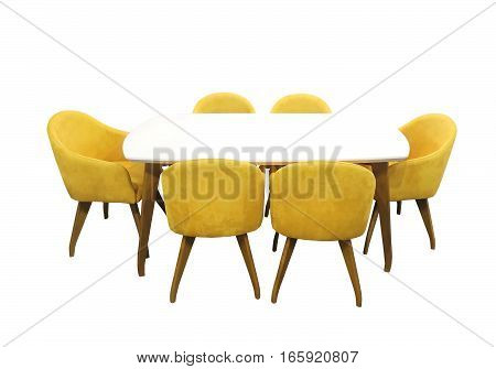 Modern dining table with six chairs isolated with clipping path included