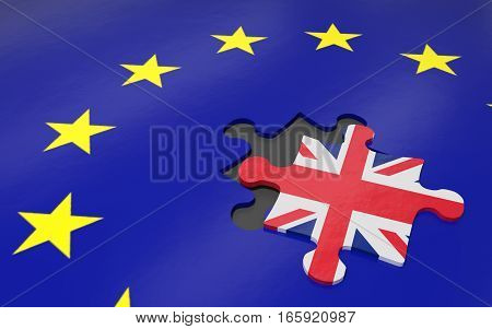 3d illustration Brexit the removed piece in a puzzle EU