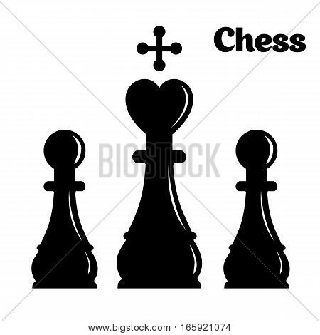 Chess vector icon with long shadow. White illustration isolated on green background for graphic and web design.