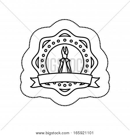 monochrome silhouette sticker between circular shapes with plier vector illustration