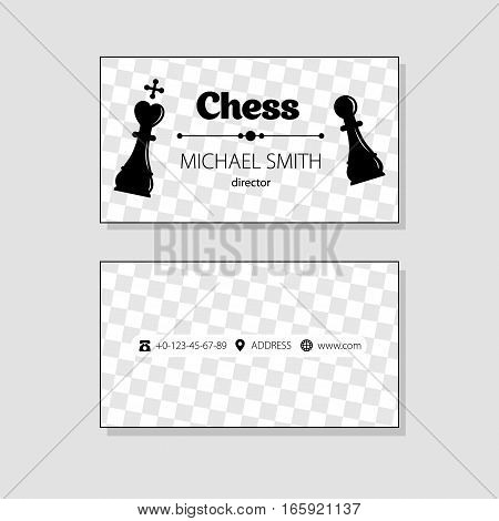 business card template. chess icon. black chess