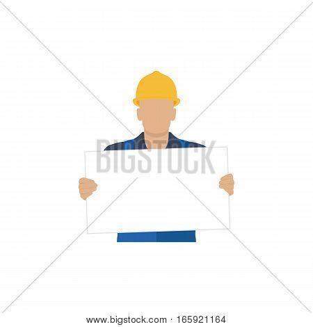 Builder holding a blank white form. Vector illustration.