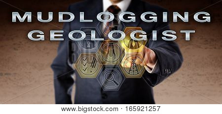 Recruitment agent in blue business suit touching MUDLOGGING GEOLOGIST on an interactive virtual computer monitor. Oil and gas industry career concept for an analytical role monitoring drilling data.