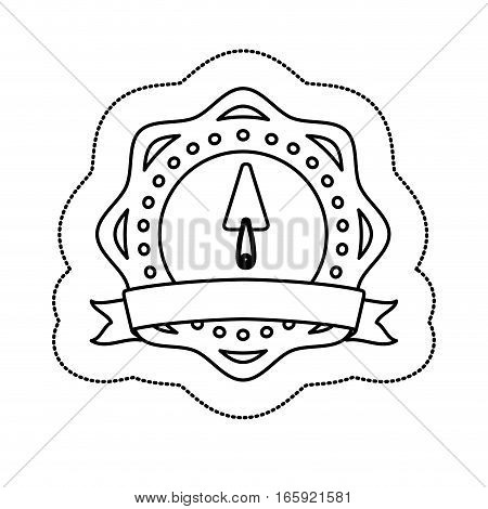 monochrome silhouette sticker with putty knife in circular frame vector illustration