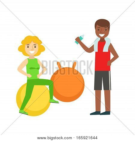 Woman Doing Exercise On Ball WIth Help Of Personal Trainer, Member Of The Fitness Club Working Out And Exercising In Trendy Sportswear. Healthy Lifestyle And Fitness Set Of Illustrations With Person Visiting Gym
