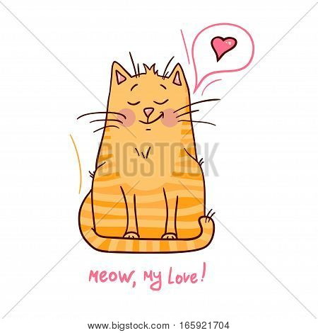 Cute red Valentines cat on white background vector illustration.