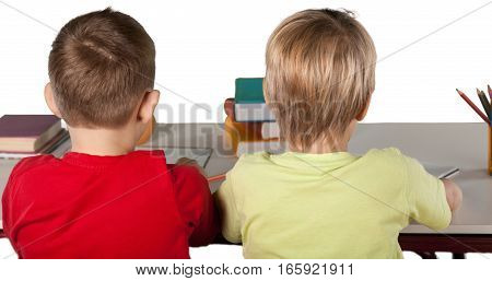 Two School Children in a Class, Back View