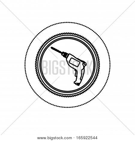 monochrome silhouette sticker with circular frame with drill tool vector illustration