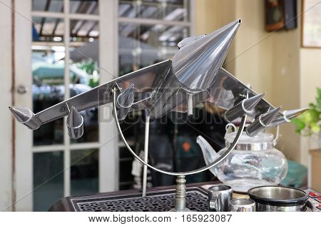 Thailand - June 16 2016: Retro Static Military or Fighter Aircraft Models Display in A Vintage and Antique Shop.
