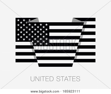 Black And White American Flag. Flat Icon Wavering Flag With Country Name